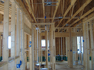 Residential wiring of 2X4 home construction